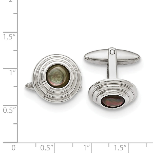 Stainless Steel Polished Black Mother of Pearl Cuff Links