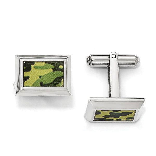 Stainless Steel Polished Printed Green Camo Under Rubber Cuff Links