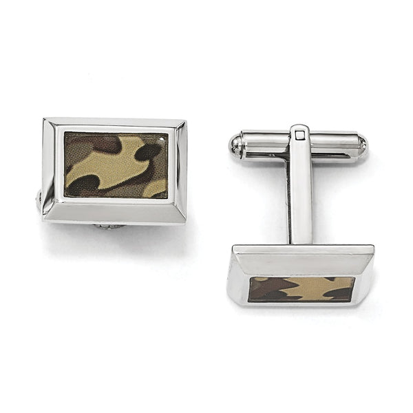 Stainless Steel Polished Printed Brown Camo Under Rubber Cuff Links
