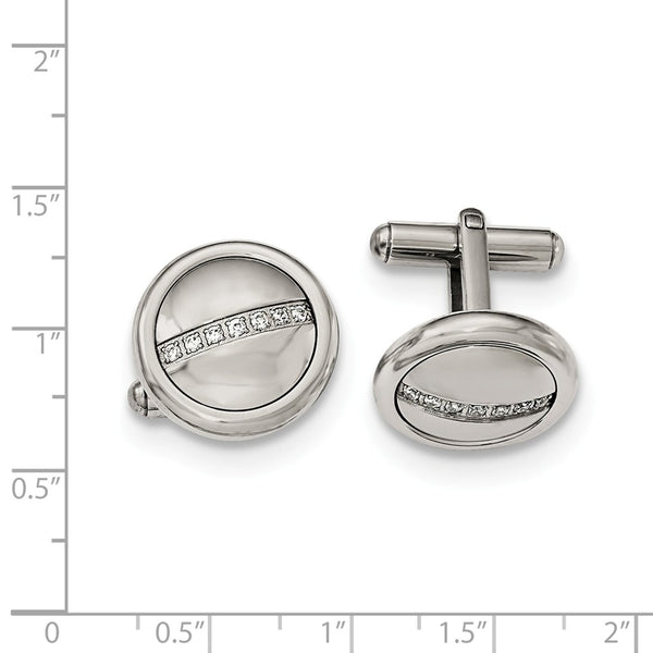 Stainless Steel Polished with Cubic Zirconia Circle Cuff Links
