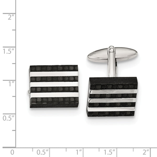 Stainless Steel Polished and Brushed Solid Carbon Fiber Cuff Links