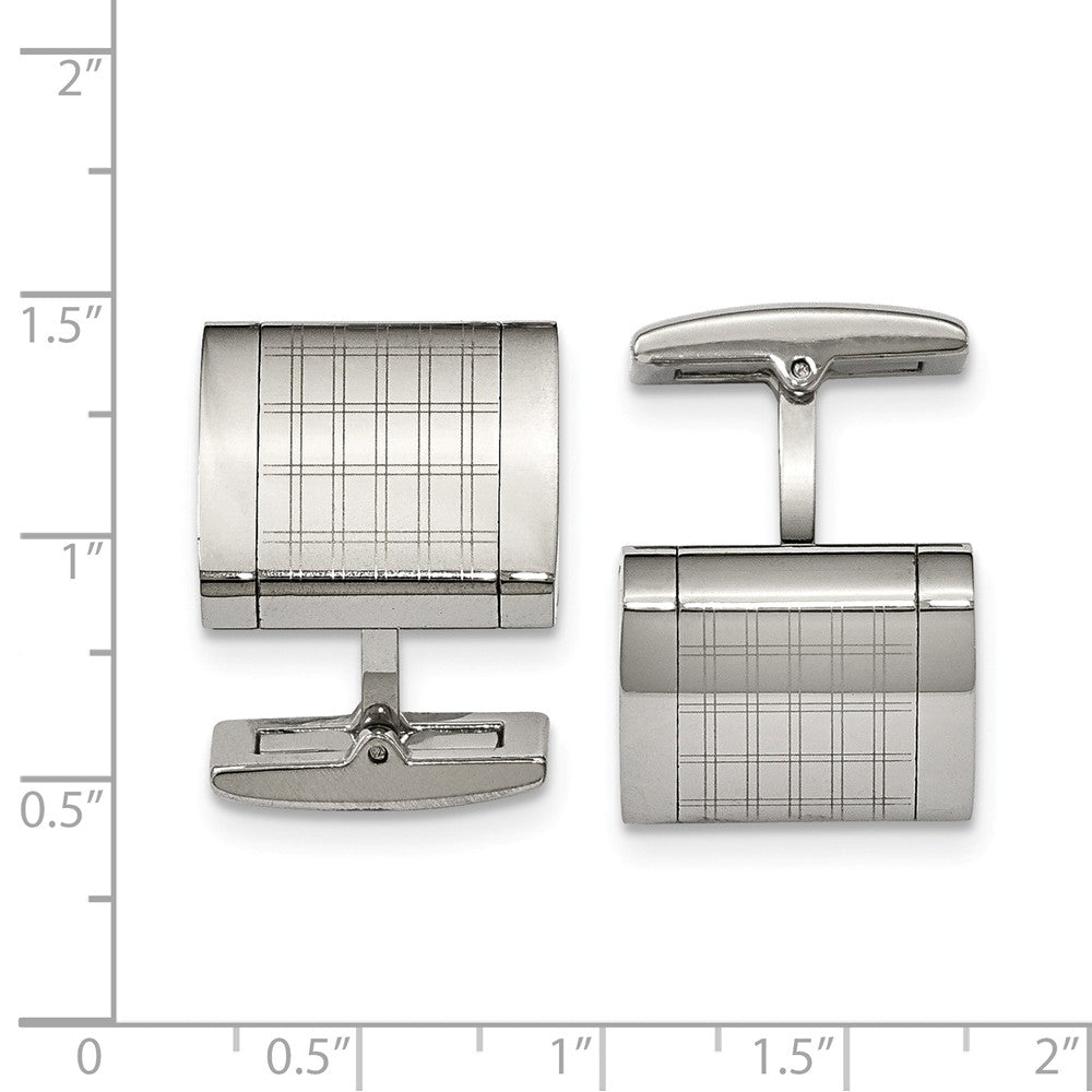 Stainless Steel Polished Laser Design Cuff Links