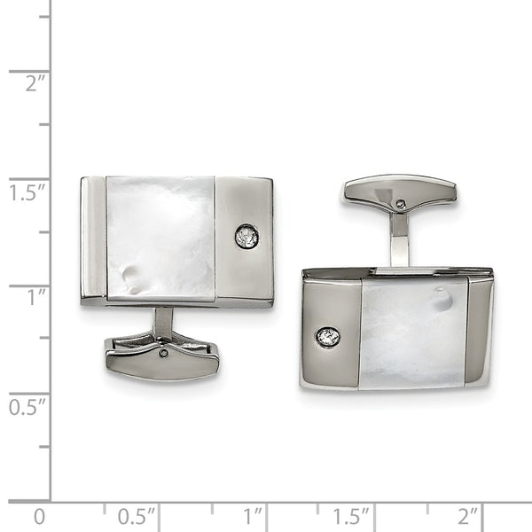 Stainless Steel Polished Mother of Pearl Cubic Zirconia Cuff Links