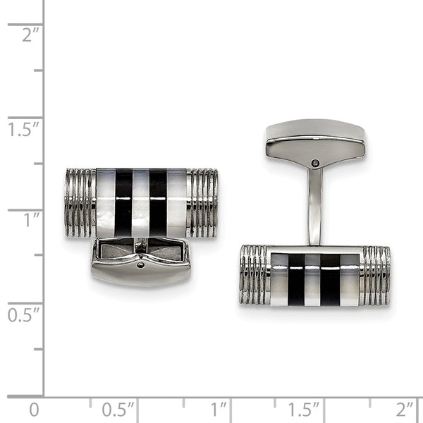 Stainless Steel Polished Mother of Pearl And Onyx Cuff Links