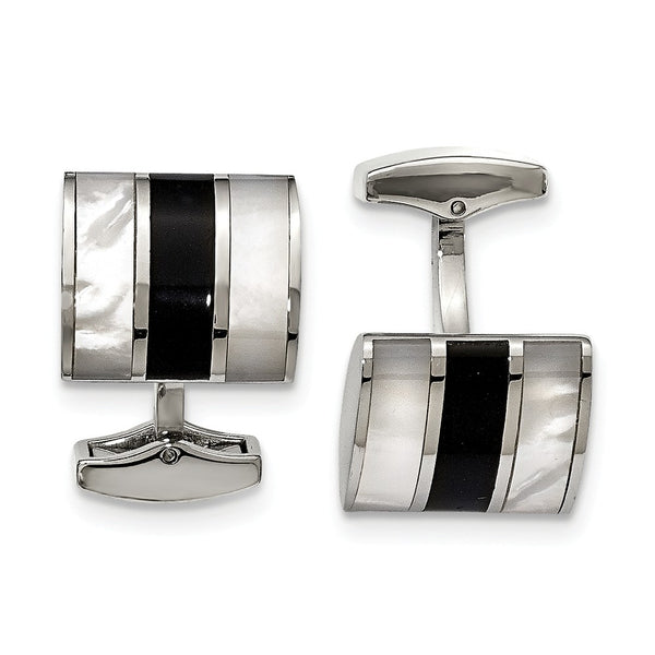 Stainless Steel Polished Black Semi-Precious Stone & MOP Cuff Links