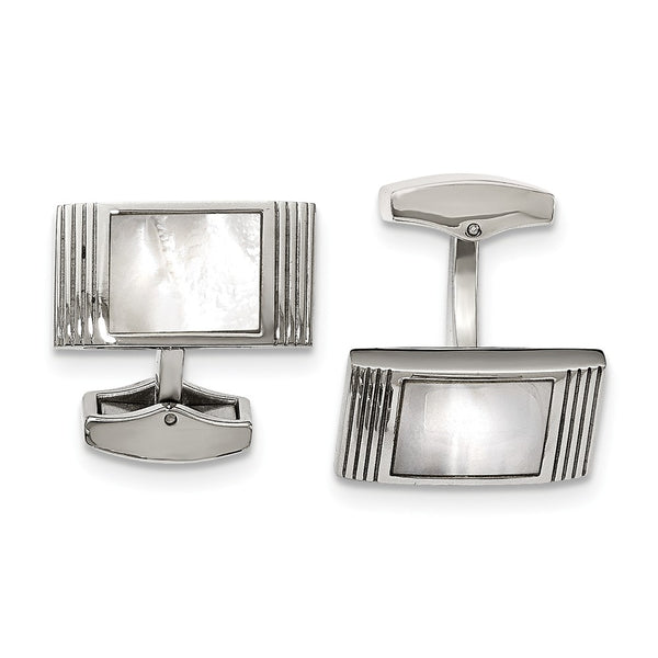 Stainless Steel Polished Mother of Pearl Grooved Rectangle Cuff Links