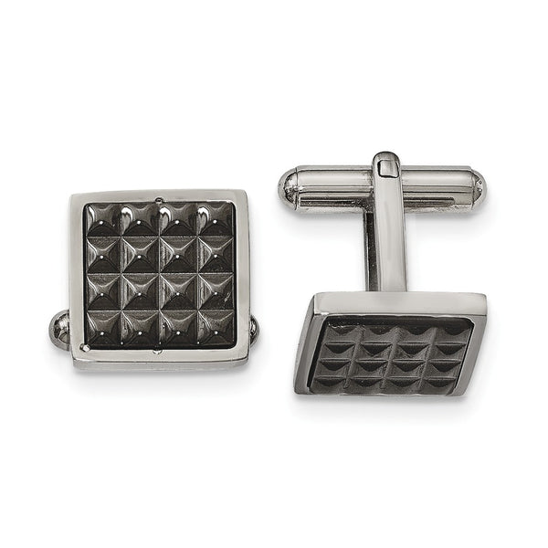 Stainless Steel Polished Black IP Studded Cuff Links
