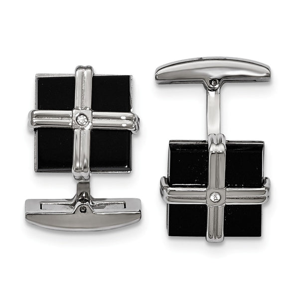 Stainless Steel Polished Black IP Cubic Zirconia Square Cuff Links