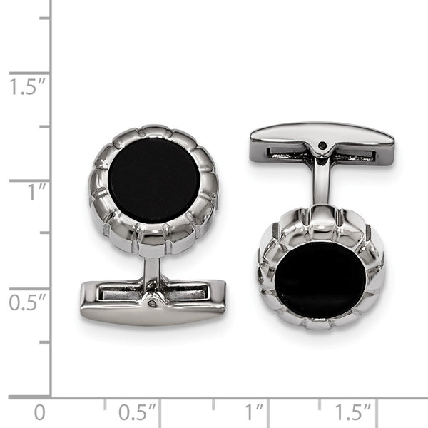 Stainless Steel Polished Black IP Scalloped Round Cuff Links