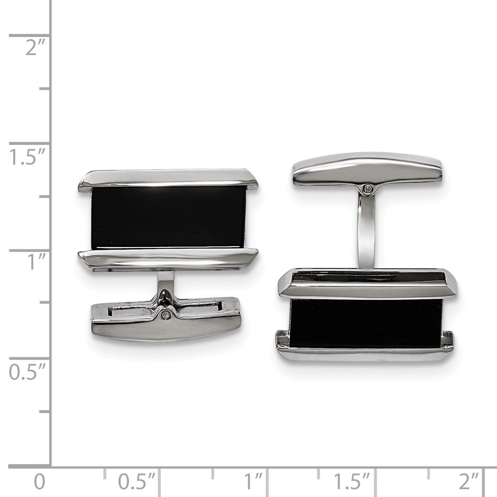Stainless Steel Polished Black IP-plated Rectangle Cuff Links