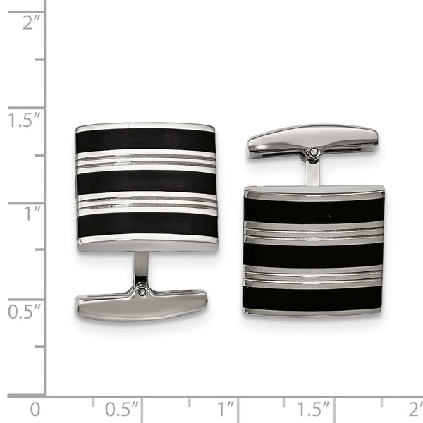 Stainless Steel Polished Grooved Black Rubber Stripes Cuff Links