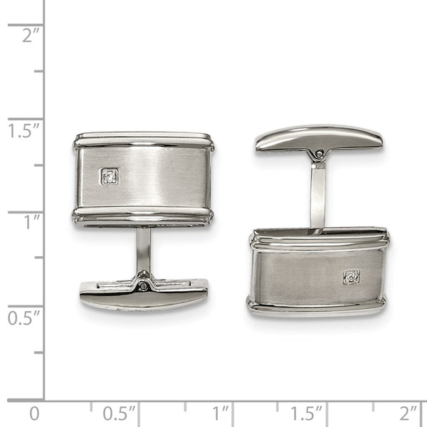 Stainless Steel Brushed/Polished Cubic Zirconia Cuff Links