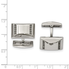 Load image into Gallery viewer, Stainless Steel Polished Cubic Zirconia Rectangle Cuff Links