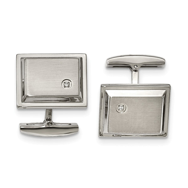 Stainless Steel Brushed and Polished Cubic Zirconia Rectangle Cuff Links