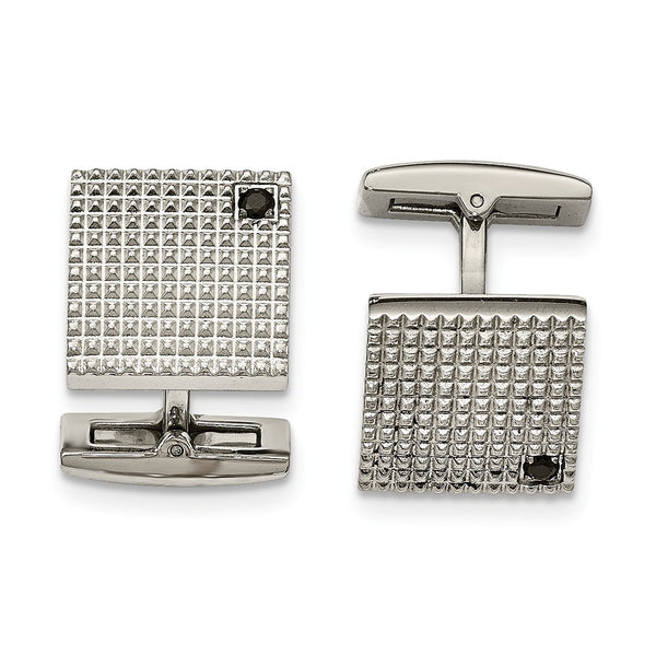 Stainless Steel Polished Texture Black Cubic Zirconia Cuff Links