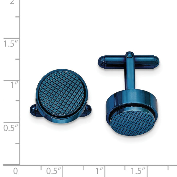 Stainless Steel Polished Textured Blue IP Plated Round Cuff Links