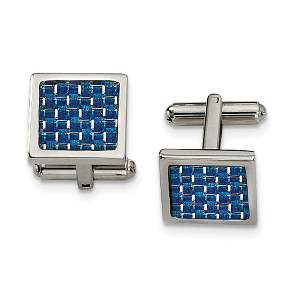 Stainless Steel Polished With Blue Carbon Fiber Inlay Cuff Links