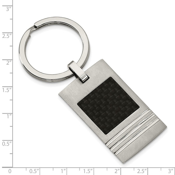 Stainless Steel Brushed Black Carbon Fiber Inlay Key Ring