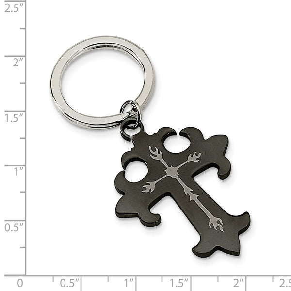Stainless Steel Polished Black IP-plated Cross Key Chain