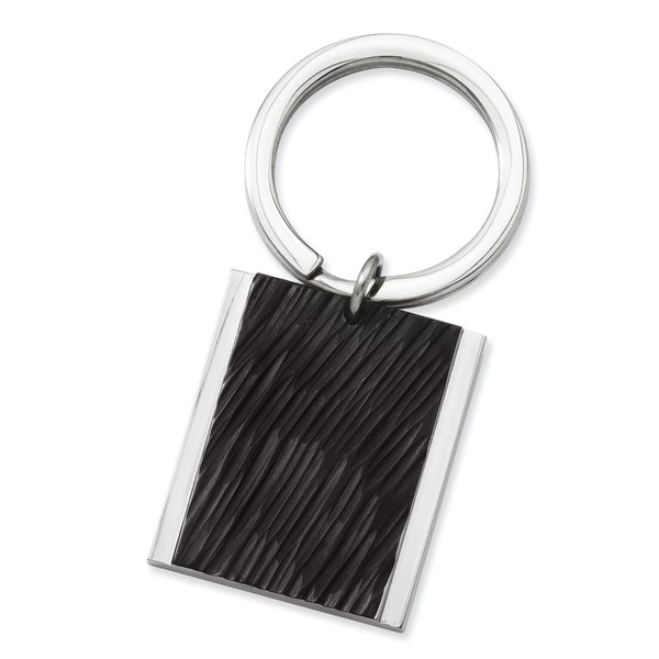Stainless Steel Polished Textured Black IP-plated Key Ring