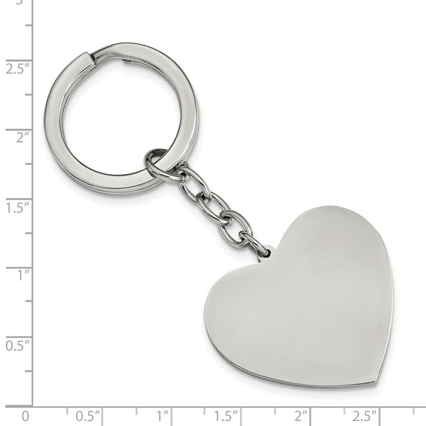 Stainless Steel Polished Heart Key Ring