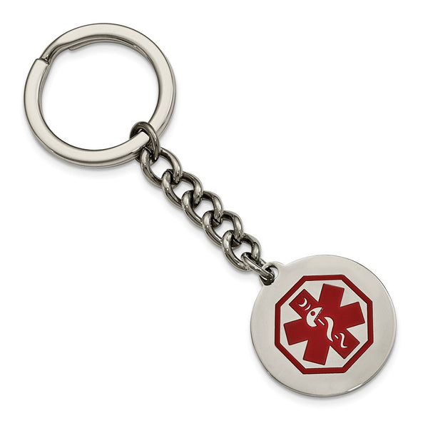 Stainless Steel Polished Red Paint Inlay Medical Key Chain