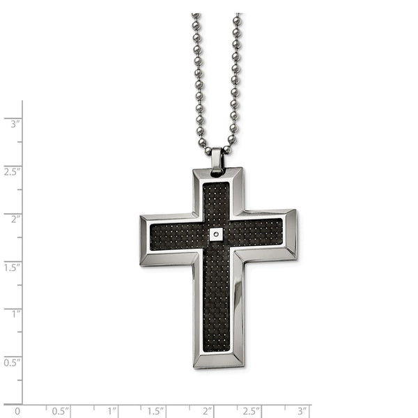 Stainless Steel Blk Carbon Fiber Inlay .01ct. Diamond Accent Cross Necklace