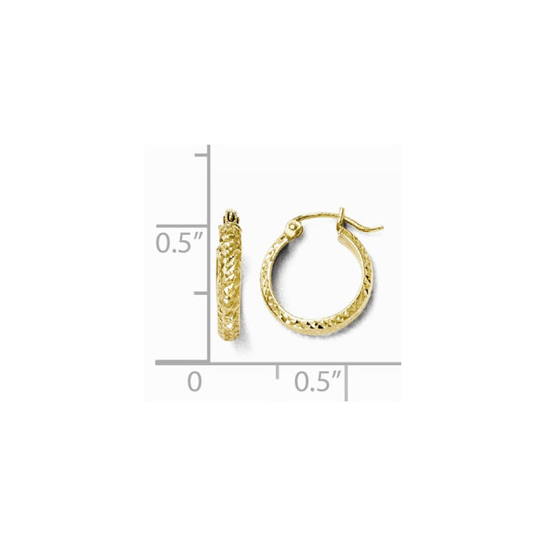 Leslie's 10K Diamond-cut Hinged Hoop Earrings