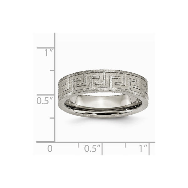 Titanium Greek Key 6mm Satin & Polished Band