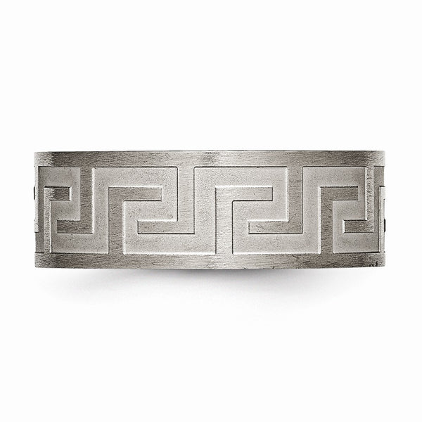 Titanium Greek Key 8mm Satin & Polished Band