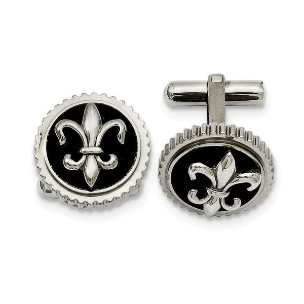 Titanium with Black Enamel Fleur de lis Cuff Links