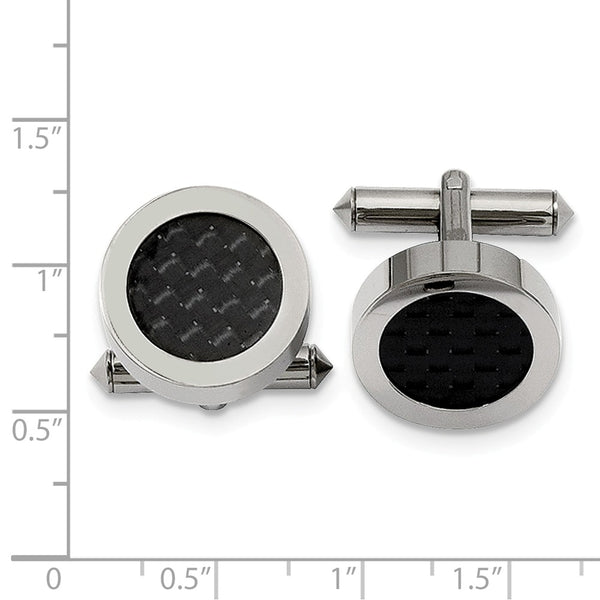 Titanium Polished With Black Carbon Fiber Inlay Cuff Links