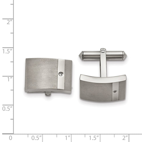 Titanium Brushed and Polished Clear Cubic Zirconia Cuff Links