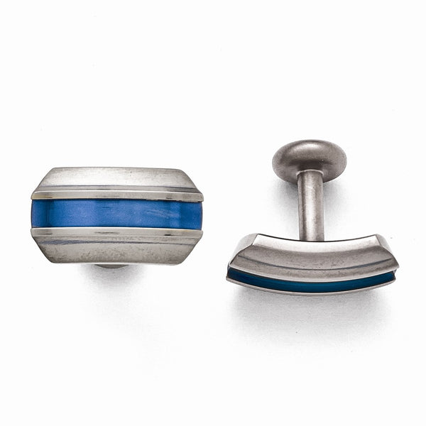 Titanium Grey Ti Brushed Blue Anodized Stripe Cuff Links