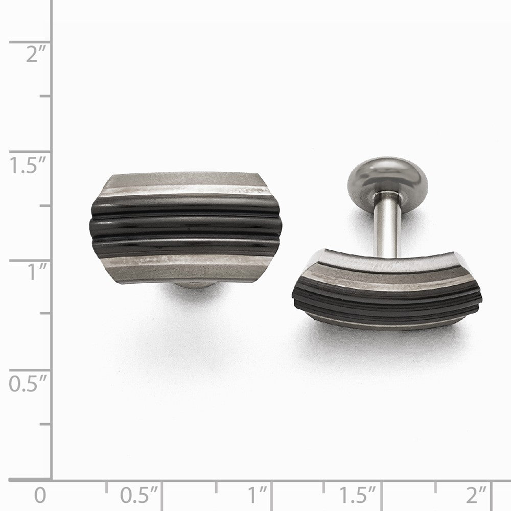 Titanium Sterling Silver Black Ti Brushed/Polished Striped Cuff Links