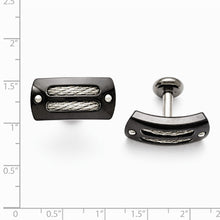 Load image into Gallery viewer, Titanium Sterling Silver Black Ti Polished With Cable Inlay Cuff Links