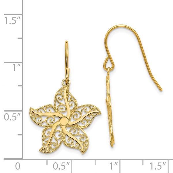 14k Filigree Starfish Shepherd Hook Earrings