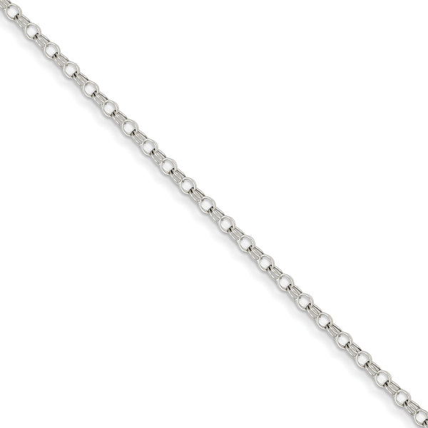 14k White Gold 3mm Solid Double Link Charm Bracelet
