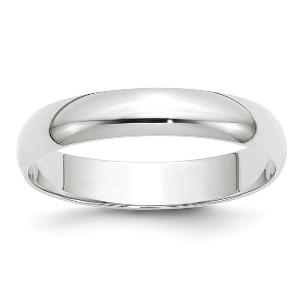10K White Gold  4mm Light Weight Half Round Band (Size 4-14)