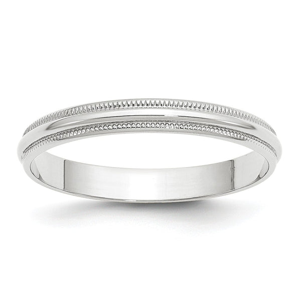 10K White Gold 3mm Light Weight Milgrain Half Round Band (Size 4-14)