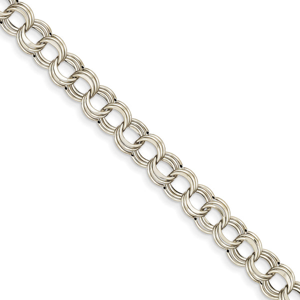 14k White Gold Lite 8mm Triple Link Charm Bracelet