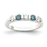 14K White Gold Blue dia/AA Ring