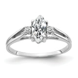 14K White Gold 8x4mm Marquise Cubic Zirconia AAA Diamond ring