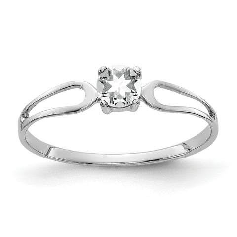 14K White Gold 4mm Cubic Zirconia ring