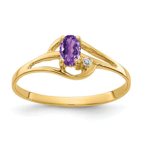 14K 5x3mm Oval Amethyst AAA Diamond ring