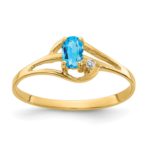 14K 5x3mm Oval Blue Topaz AAA Diamond ring
