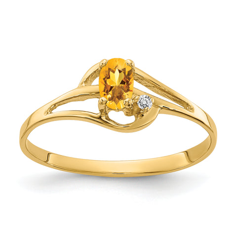 14K 5x3mm Oval Citrine AAA Diamond ring