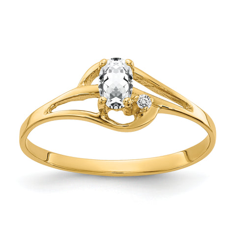 14K 5x3mm Oval Cubic Zirconia AAA Diamond ring