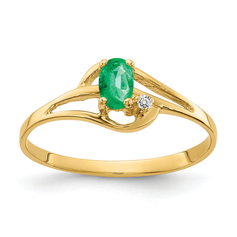 14K 5x3mm Oval Emerald AAA Diamond ring
