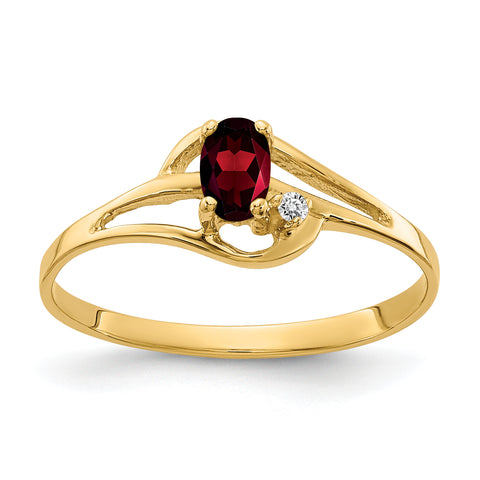 14K 5x3mm Oval Garnet AAA Diamond ring